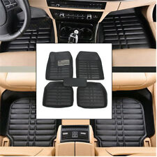 5pcs Set Car Floor Mats Flex Tough PU Leather Semi Custom Black Front Rear Liner