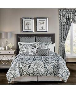 Croscill Remi Silver Damask Jacquard Pleat Cord 4 Pc Comforter Set - KING - Grey