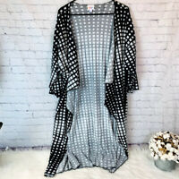 Women's LuLaRoe Shirley Kimono Size Large Black/White Geometric Print