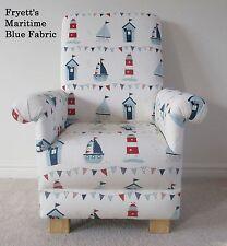 Fryetts Maritime Blue Fabric Child Chair Boats Nautical Seaside Kids Ships White