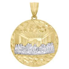 "10K Yellow Gold Diamond Cut Apostles Last Supper Pendant Nugget Ore Charm 1.35"""