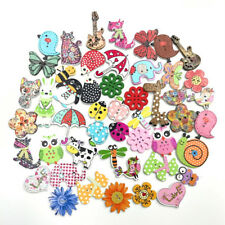 50pcs Wood Sewing Buttons Scrapbooking Painting Cartoon Animal Bees Flower Mixed