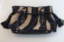 Adrienne Vittadini Handbag Large Zebra Designer Leather Fur Black Brown Tan
