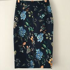 River Island Dark Navy Blue Floral Print Long Length Stretch Pencil Skirt UK 8