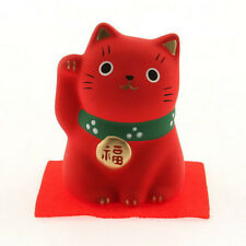 "Japanese 2-1/4""H Red Ceramic Maneki Neko Lucky Cat Health Figurine Made In Japan"