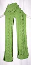 New Handmade Knitted Green Shimmer Open Work Scarf