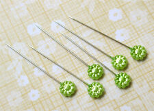 Maya Road ~FLOWER Trinket Pins GREEN~ Scrapbook CardMaking Bulk 14p tk1822