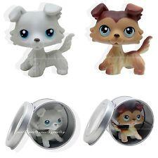 2pcs #363 #58 Rare Littlest Pet Shop Gray Brown Collie Dog Puppy Blue Eyes LPS