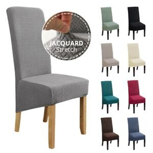 Jacquard Dining Chair Cover Stretch Spandex Elastic Long Back Chair Slipcover