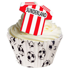 12 PRE-CUT stand-up EDIBLE SUNDERLAND T-SHIRT football cake decorations toppers