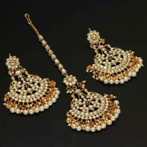 Kundan earrings and tika, kundan tikka set, chand bali earrings,Kundan jewelry