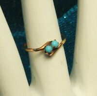 14k GOLD VICTORIAN Ring 1800s TURQUOISE Gems Crossover/Bypass Design Sz 6 NICE!