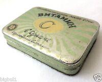 VINTAGE Soviet USSR 60's Vitamin C MEDICAL Pharmacy Apothecary TABLET TIN BOX