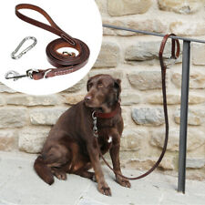5/6ft Genuine Leather Dog Lead Durable Pet Dog Walking Leash & Locking Carabiner