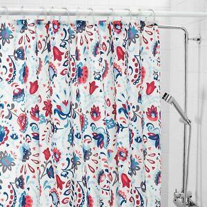 Ikea KRATTEN Shower curtain, white/multicolour, 180x180 cm