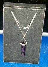 "24/"" NKL250001 Graduated Amethyst bead sterling silver necklace"
