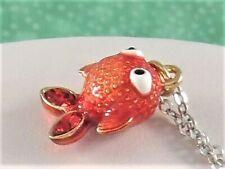 "New BRIGHTON ""PETITE MARVELS"" Bubble Goldfish Pendant Necklace Jewelry"