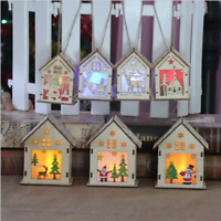 LED Light Wood HOUSE Christmas Tree Fairy Hanging Ornaments Party Decoration
