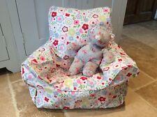 Handmade Children's Beanbag Chair Cover, White Posy Floral