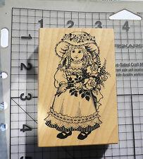 PSX personal Stamp Exchange sello de goma montado madera Victoriano Girl Doll