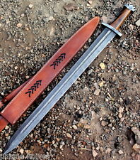 Damascus Steel  Viking Sword Handmade Knife  32.00 Inches Rose Wood Handle