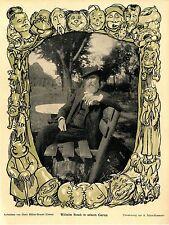 Wilhelm Busch in seinem Garten ( Umrahmung von A.Schmidhammer ) 1907