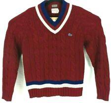 Vintage Mens Izod Lacoste Cable Knit V neck Stripe Tennis Golf Sweater Large