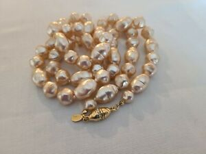 Joan Rivers Faux Baroque Pearl Heavy 36in Egg Shaped Screw Clasp Necklace