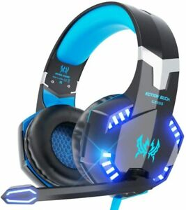 Cuffie Gaming Kotion Per PS4, PC, Xbox One,con Microfono Stereo Bass LED Blu