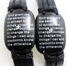 10x God Serenity prayer Cross Leather Bracelets Wholesale Men Bangles Wristbands