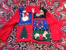 WIP Stitch Snowman Tree Wreath Horse Cardigan Christmas Sweater M Not Ugly EUC