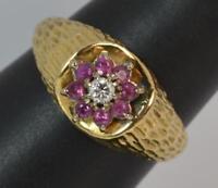 Retro 18 Carat Gold Ruby & Diamond Cluster Ring f0229