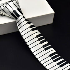 Unisex Novelty Fancy Dress Black & White Piano Key Skinny Tie - Brand New