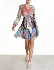 Zimmermann Bellitude Spliced Short Dress + scarf CRINKLE SILK RP$795 BNWT 0/AUS8