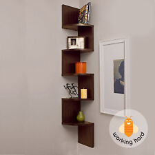 5 TIER CORNER SHELF WALL MOUNT Zig Zag Storage Rack Shelves Floating Display