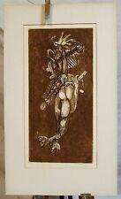 Vintage Surreal Israel etching print signed 1969