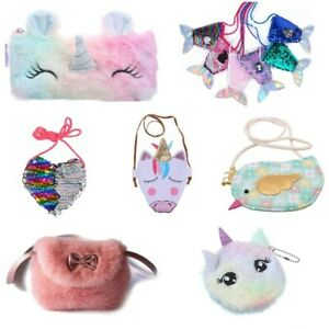 Children's Girls Messenger bag bags purse mermaid Fur UNICORN sequin rabbit lot