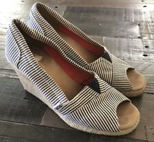 Women's TOMS Calypso  Wedge Striped Blue White Size 6  SHIPS FREE