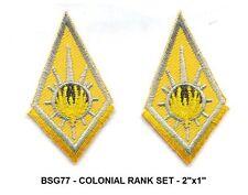 BattleStar Galactica COL RANK Insignia Patch Set - 2 x BSG77