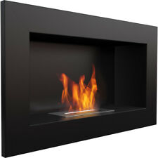 Georgia Black horizontal wall mounted bioethanol fireplace modern style firep...