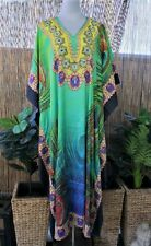 Plus Size Peacock Embellished Satin Like Kaftan Long Maxi  Size 16-18-20-22-24