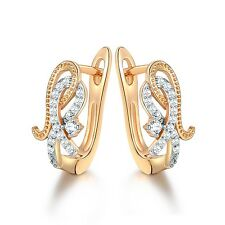 White Sapphire Crystal 18k Gold Filled Women Charm Wedding Party Hoop Earrings