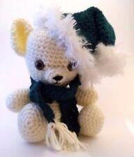 CROCHET CHRISTMAS BEAR Amigurumi with Green Scarf and Santa Hat NEW Stuffed Toy