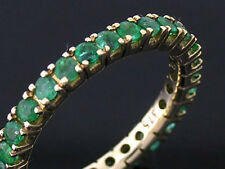 R122 Genuine 9ct Yellow Gold NATURAL Emerald FULL Eternity Ring size 6.25