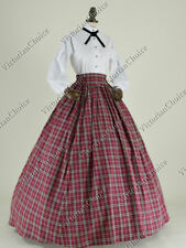 Victorian Country Maiden Plaid Old West Dress Vampire Halloween Costume N 314 M