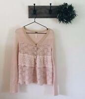 Free People Pink Wool Cardigan Sweater XS
