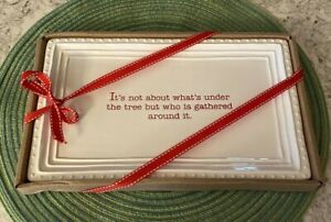 """Mud Pie Christmas Serving Tray 11""""x 7"""" Red and White Farmhouse Decor Near Mint"""