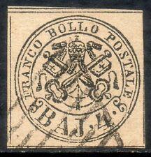 ASI - 1852 STATO PONTIFICIO 4 BAJ BRUNO GRIGIO CHIARO USATO (FIRMATO)