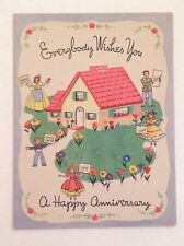 Vintage Anniversary Greeting Card - Meryle O-235, 1940's, Family Home