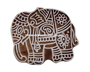 Elephant Stamp Indian Wood Stamps Hand Craved Brown Printing Block Textile Stamp